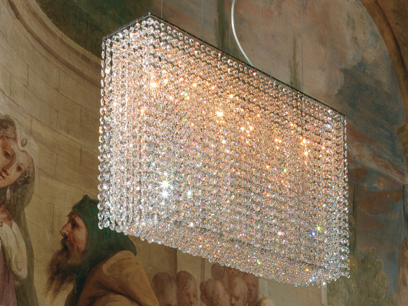 Direct light incandescent chrome plated pendant lamp with crystals IMPERO VE 850 by Masiero