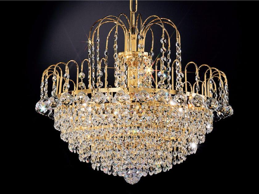 Lampada a sospensione a luce diretta incandescente in metallo con cristalli IMPERO VE 862 by Masiero