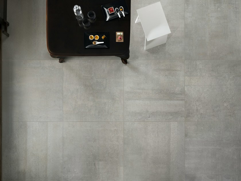 Porcelain stoneware wall/floor tiles with concrete effect IMPRESS GRIGIO by ASTOR CERAMICHE