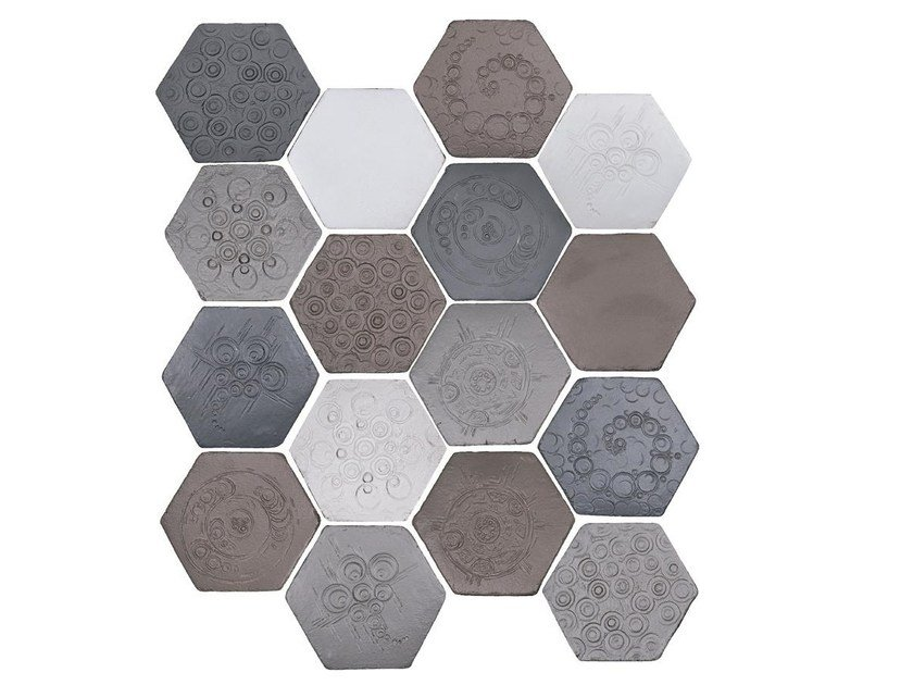 Indoor faïence wall tiles IMPRESSIONI MIX PACK.6 by Danilo Ramazzotti