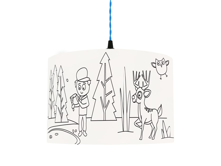 Drum shaped lampshade for children IN THE WOODS by Mullan Lighting