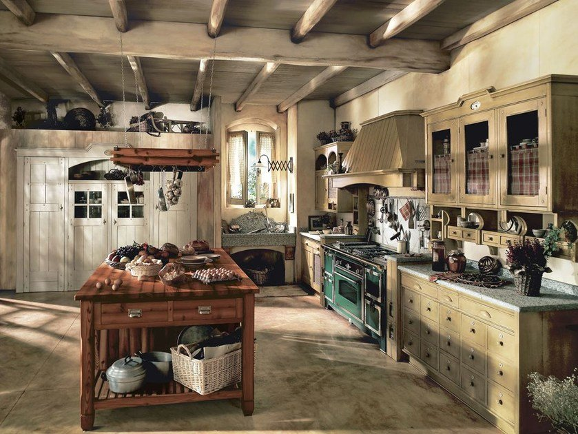Fitted wood kitchen INCONTRADA - COMPOSITION 02 by Marchi Cucine