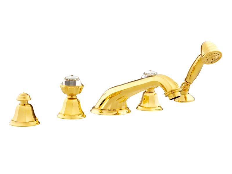 5 hole bathtub set with Swarovski® crystals INDICA | Bathtub set with Swarovski® crystals by Bronces Mestre