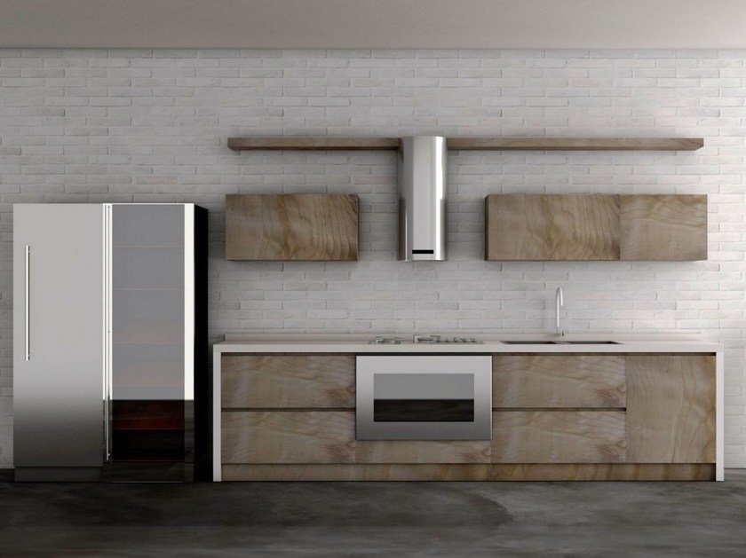Linear olive wood kitchen INDUSTRIAL CHIC by HEBANON