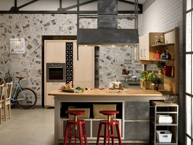 Ash kitchen with island INDUSTRIAL CHIC SAHARA By L\'Ottocento