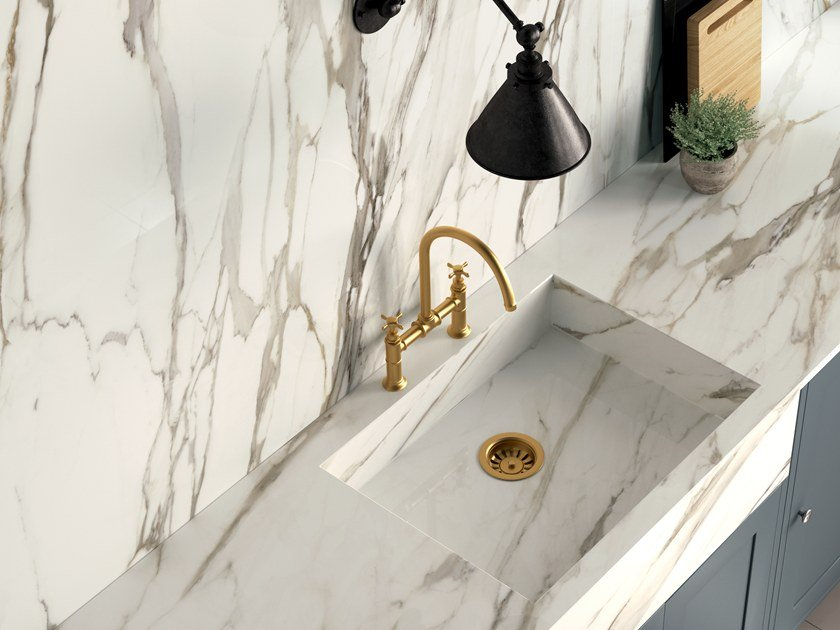 Porcelain stoneware kitchen worktop with marble effect INFINITO 2.0 CALACATTA GOLD by CERAMICA FONDOVALLE