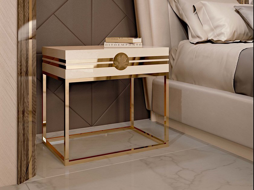 Wooden bedside table with drawers INFINITY | Bedside table by Bizzotto