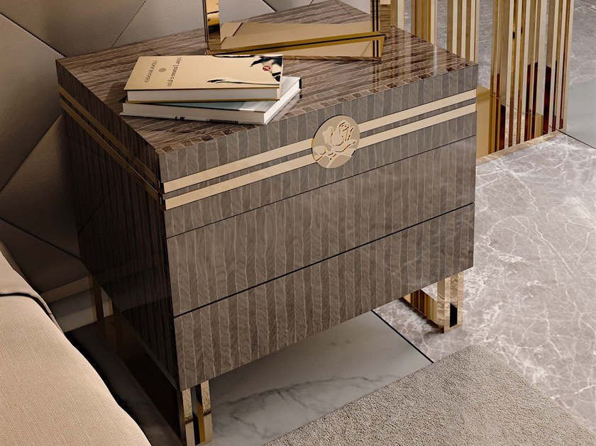 Wooden bedside table with drawers INFINITY | Bedside table with drawers by Bizzotto