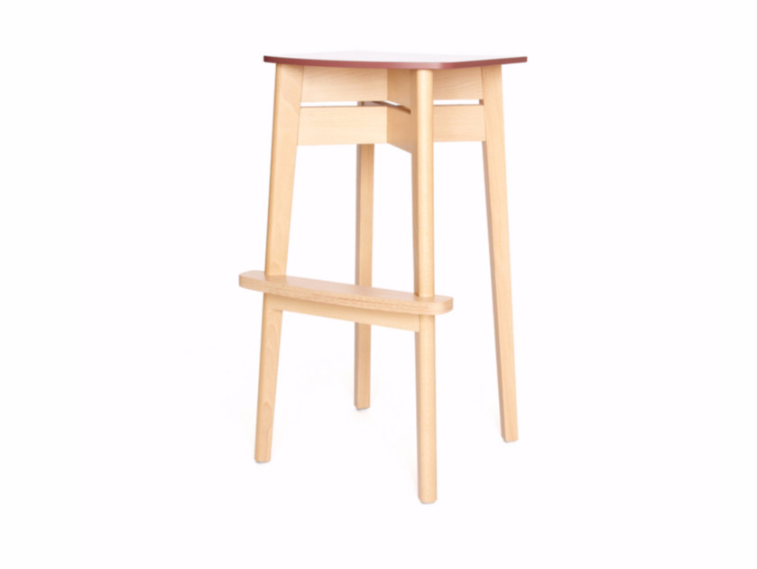 High wooden stool with footrest INGRID K 82 by Z-Editions