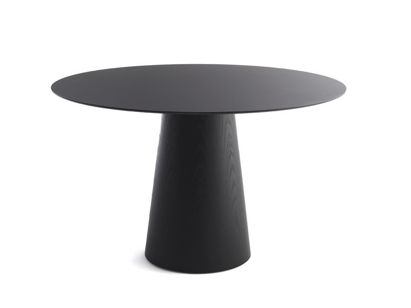Round wood veneer table INOKO by Crassevig