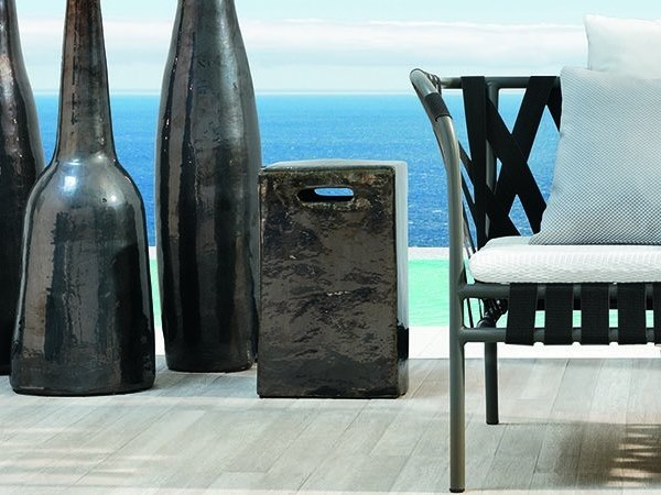 Ceramic stool / coffee table GERVASONI - INOUT 43 Anthracite grey by Archiproducts.com