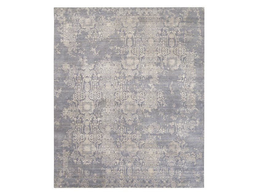Contemporary style handmade rectangular custom wool rug INSPIRATIONS DARK GREY - SILVERS by Thibault Van Renne
