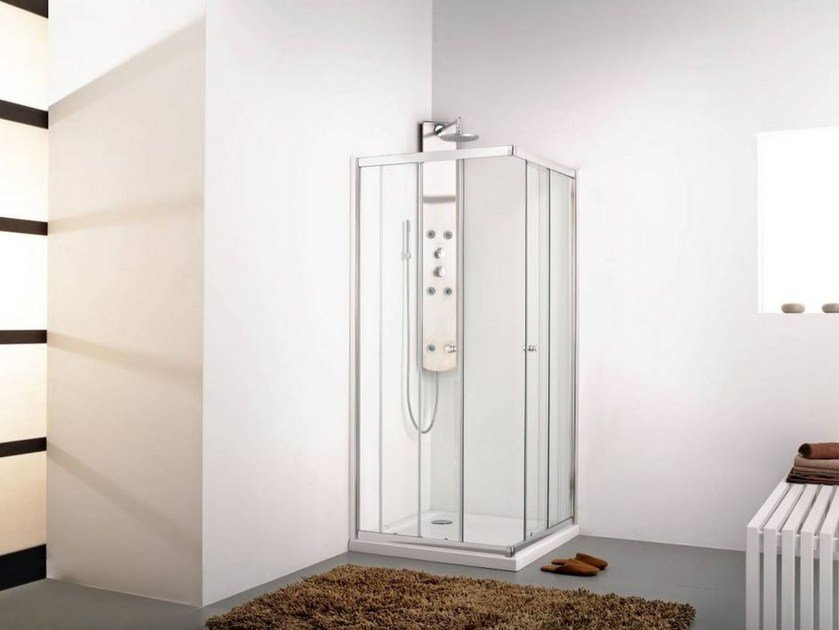 Systempool rectangular shower cabin with pivot door inter 2+ inter collection