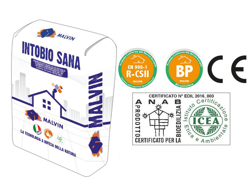 Natural plaster for sustainable building INTOBIO SANA by malvin