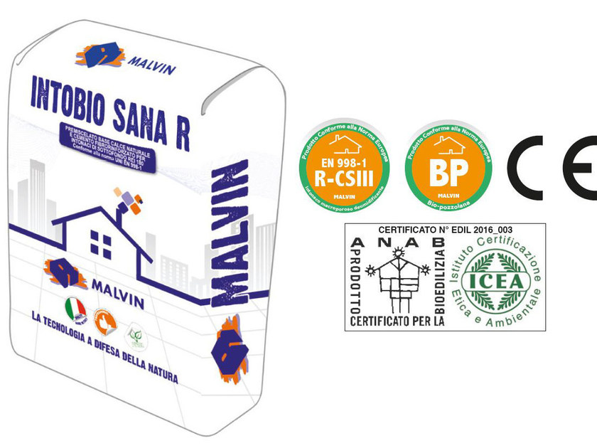 Natural plaster for sustainable building INTOBIO SANA R by malvin