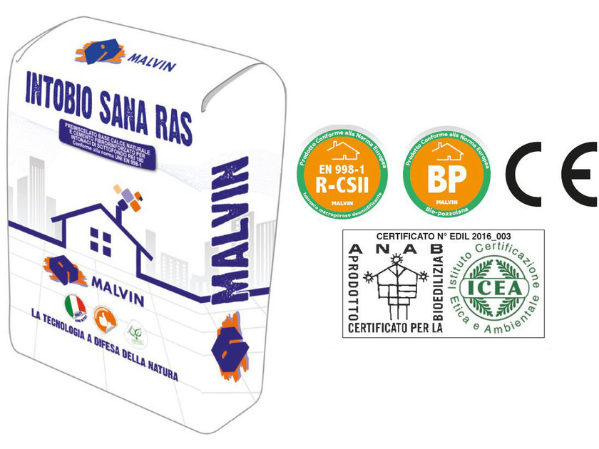 Natural plaster for sustainable building INTOBIO SANA RAS by malvin