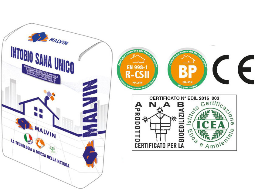 Natural plaster for sustainable building INTOBIO SANA UNICO by malvin