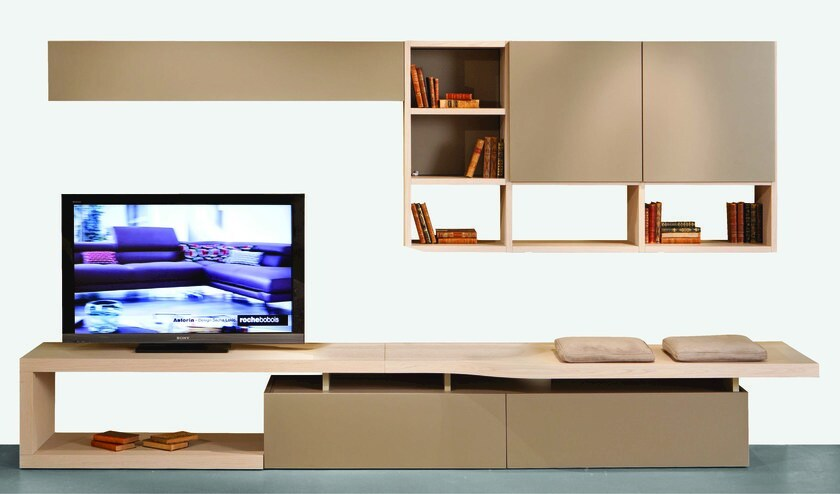 MDF TV wall system INTRALATINA | Storage wall by ROCHE BOBOIS