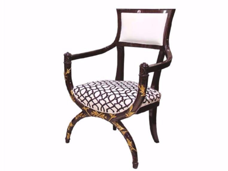 Mahogany armchair with armrests INTRECCIO by HEBANON