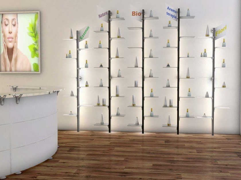 Wall-mounted modular retail display unit with light DOTTO | Wall-mounted retail display unit by STUDIO T