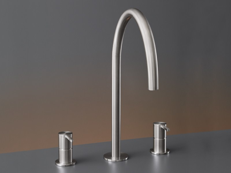 Three-hole mixer with swivelling spout H. 360 mm INV 45 by Ceadesign
