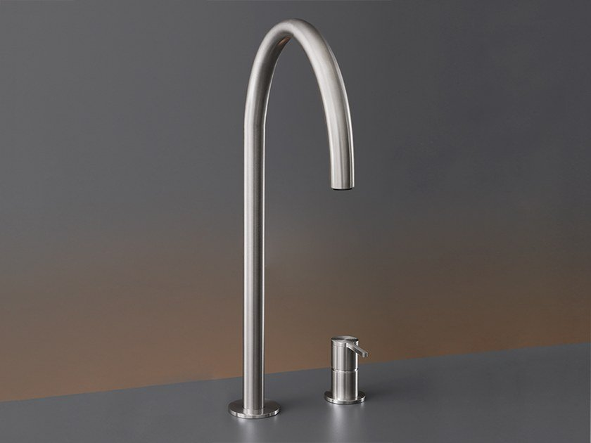 2 hole stainless steel kitchen mixer tap with pull out spray INV 46 by Ceadesign