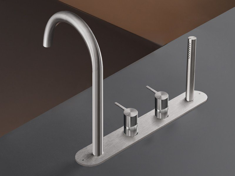 Rim mounted set of mixers with spout and hand shower INV 56 by Ceadesign