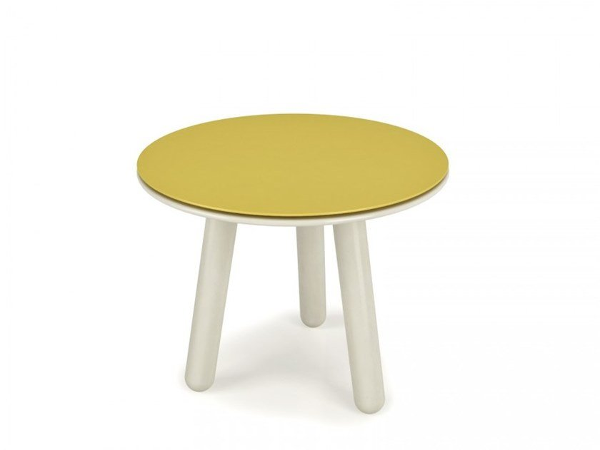 Lacquered round center table with steel top INVERSE | Coffee table for living room by Huppé