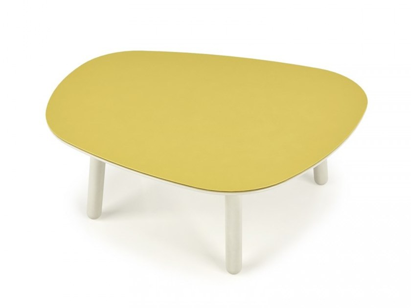 Low lacquered center table with steel top INVERSE | Low coffee table by Huppé