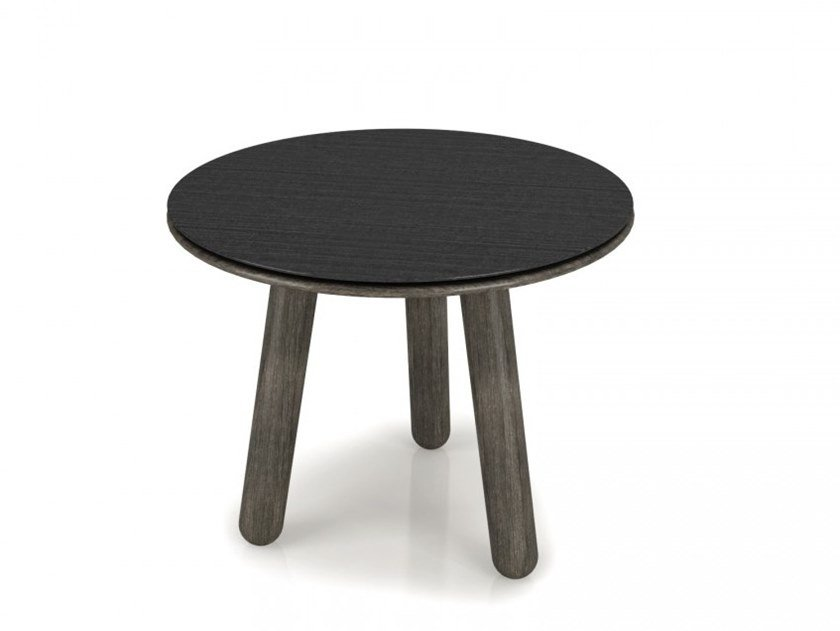 Round birch side table with steel top INVERSE | Metal coffee table by Huppé