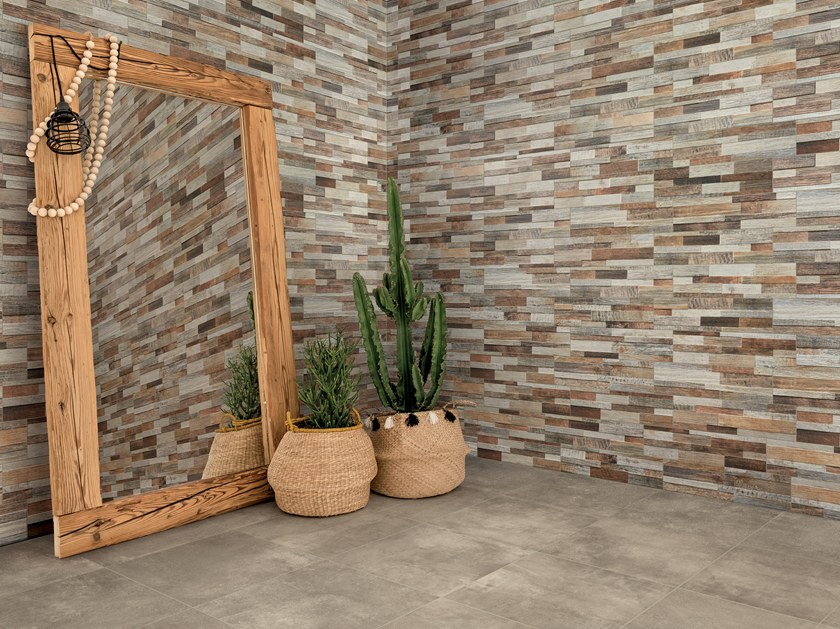 Indoor/outdoor porcelain stoneware 3D Wall Tile INWOOD 3D by Ceramica Rondine