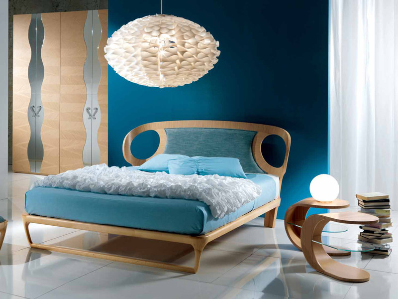 Upholstered fabric double bed IRIDE 15 by Carpanelli Contemporary