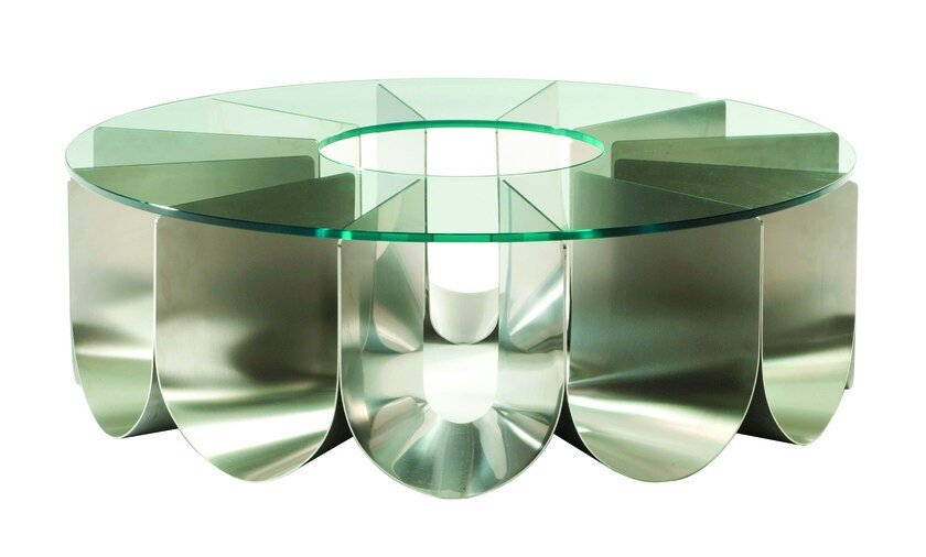 Round glass and steel coffee table for living room IRIDE by ROCHE BOBOIS
