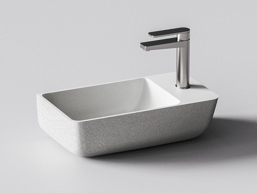 Wall-mounted quartz sand handrinse basin IRIS by Sandhelden