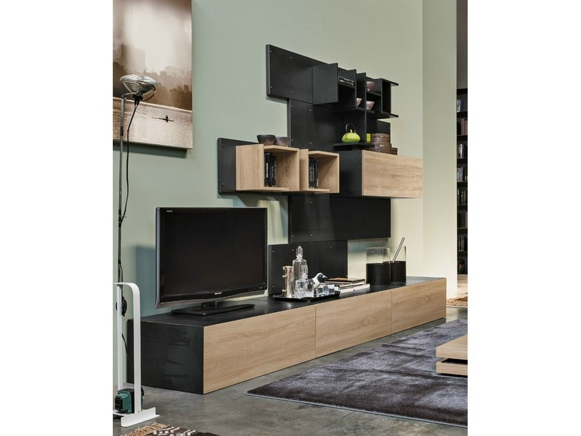 Sectional wall-mounted storage wall IRON R02 by Ronda Design