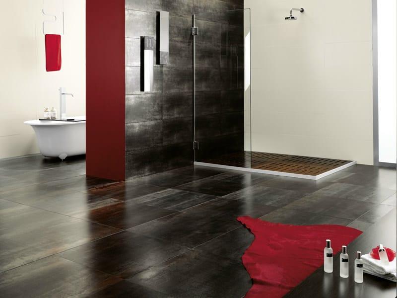Indoor/outdoor wall/floor tiles with metal effect IRON by Revigrés