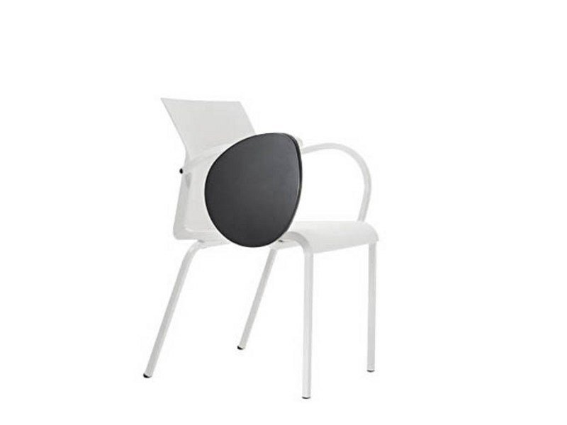 Contemporary style plastic training chair with armrests with writing tablet IRON S0951 B by Segis