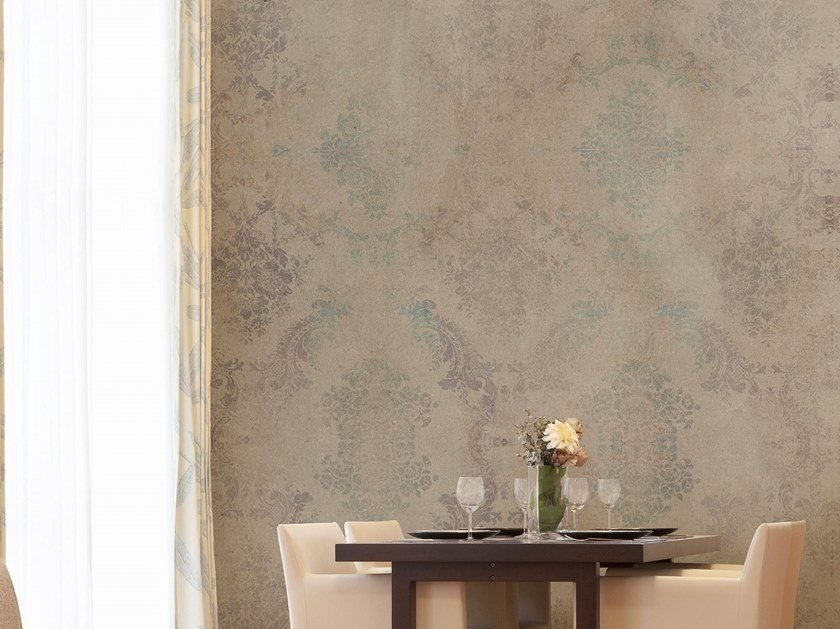 Damask fire retardant nonwoven wallpaper ISAAC by Tecnografica Italian Wallcoverings