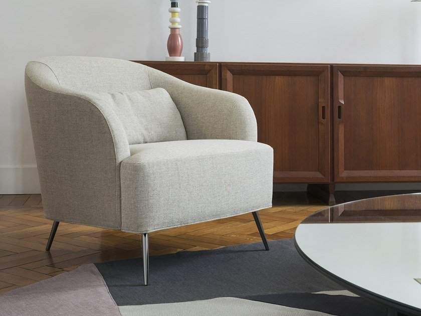 Upholstered armchair with removable cover with armrests ISABEL | Fabric armchair by Minimomassimo