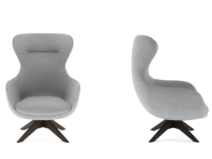 Wing swivel fabric armchair ISEO | Swivel armchair by NICOLINE