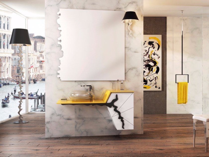 Lacquered wall-mounted vanity unit with drawers ISIDO SET TWO by LINEAG