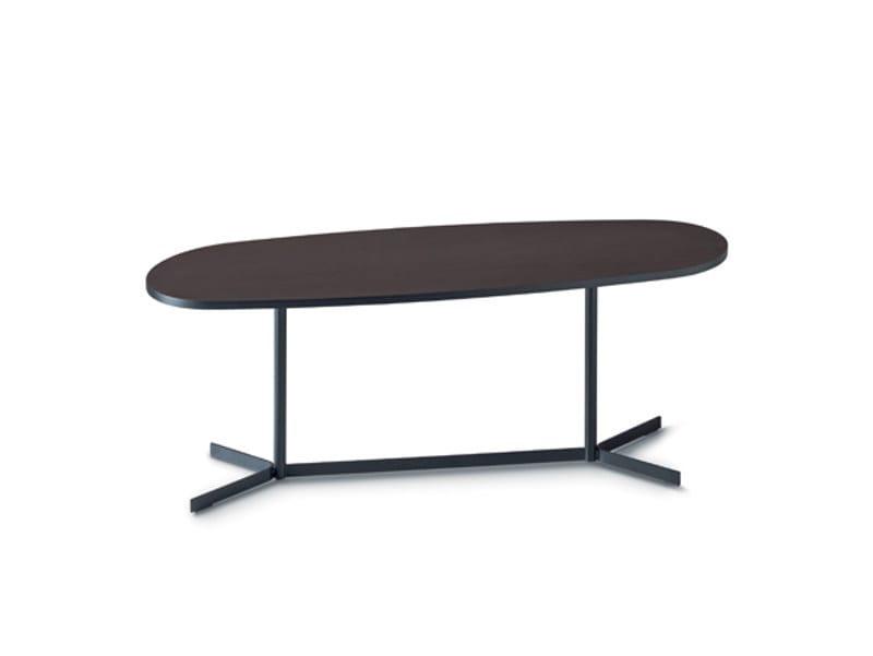 Low oval coffee table with 4-star base ISLAND by arflex
