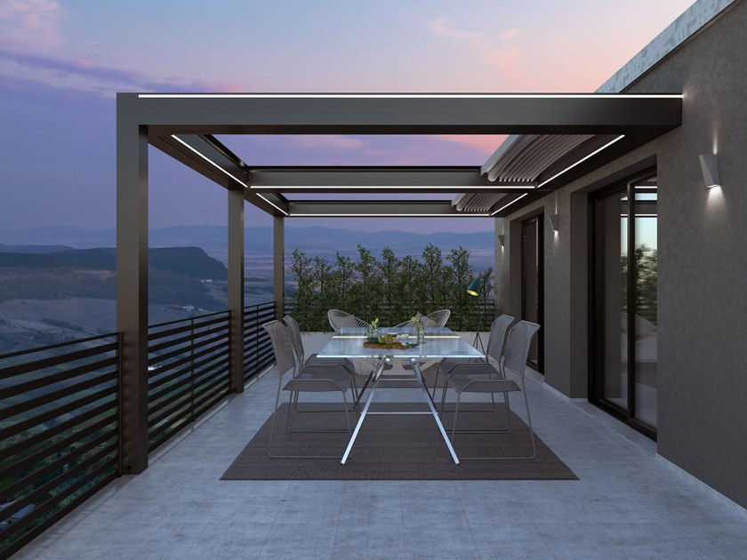 Wall-mounted pergola with sliding cover ISOLA 3 | Wall-mounted pergola by KE Outdoor Design