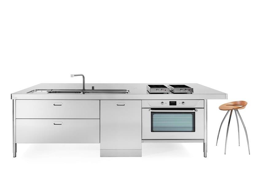Küchenelement aus Edelstahl Kücheninsel ISOLA 300 SNACK by ALPES-INOX