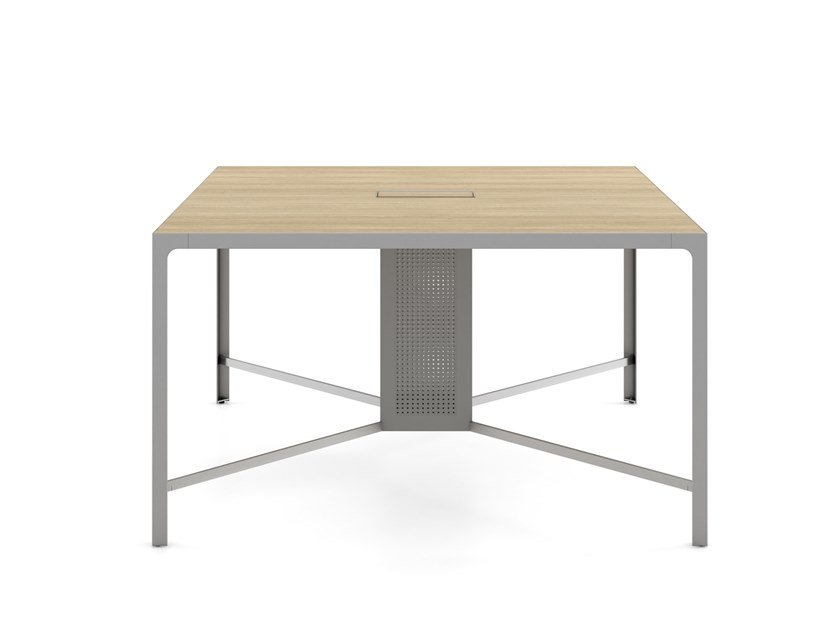 Square melamine-faced chipboard meeting table with cable management ISOLA BANCOQUADRO | Melamine-faced chipboard meeting table by ESTEL GROUP
