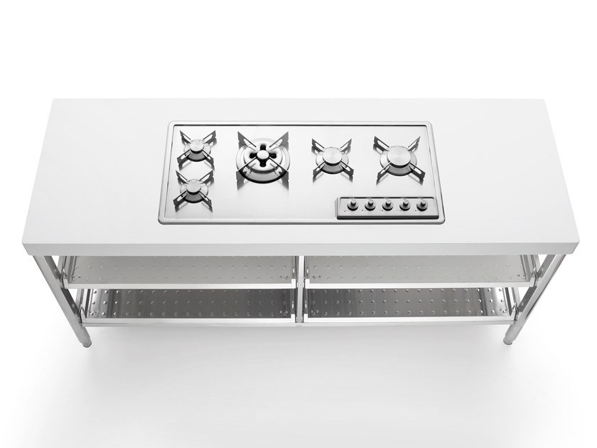 Stainless steel Kitchen unit for hob ISOLE CUCINA 190 | Kitchen unit for hob by ALPES-INOX