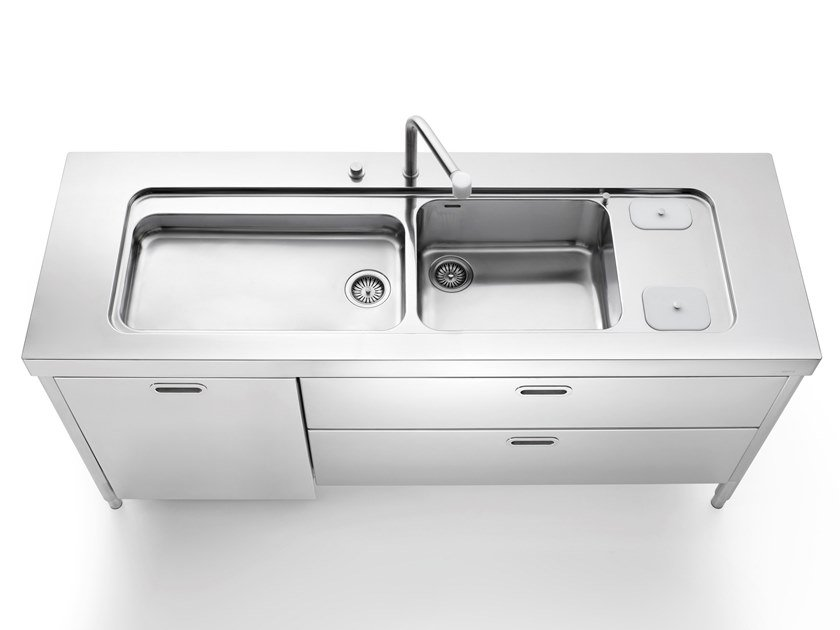 Stainless steel Kitchen unit for sinks ISOLE CUCINA 190 | Kitchen unit for sinks by ALPES-INOX