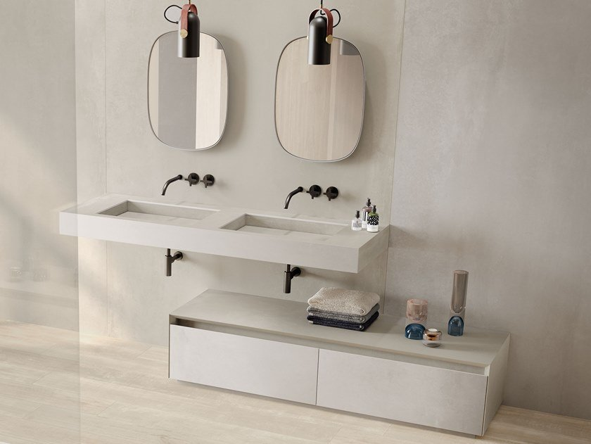 Double rectangular wall-mounted porcelain stoneware washbasin DOUBLE FLAT by Italgraniti