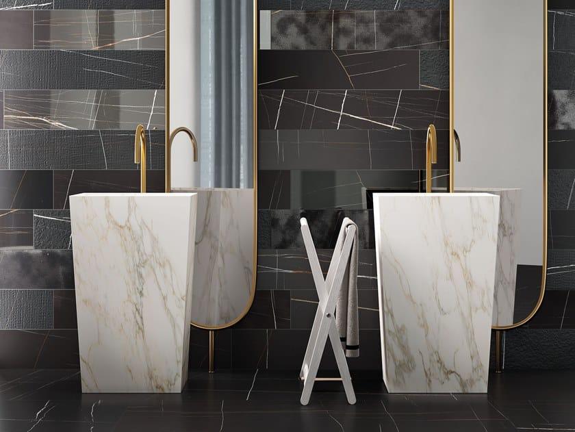 Freestanding rectangular porcelain stoneware washbasin BLOCK by Italgraniti