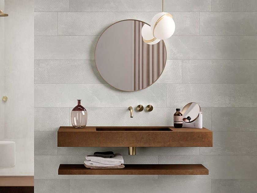 Rectangular single wall-mounted porcelain stoneware washbasin GROOVE by Italgraniti